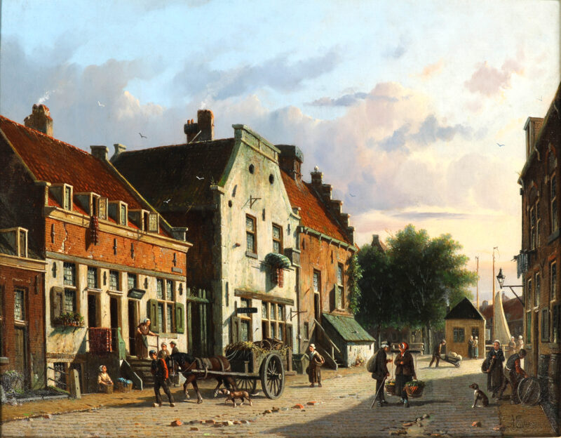 Eversen, Adrianus - A lively Dutch town view on a sunny day (kf)