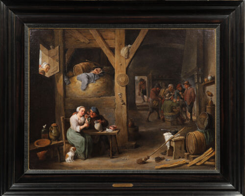 Teniers II, David - A Barn Scene with a man courting a young woman, and several figures (framed)
