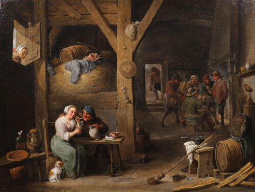 Teniers II, David - A Barn Scene with a man courting a young woman, and several figures (kf)