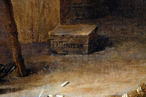 Teniers II, David - A Barn Scene with a man courting a young woman, and several figures (signature)