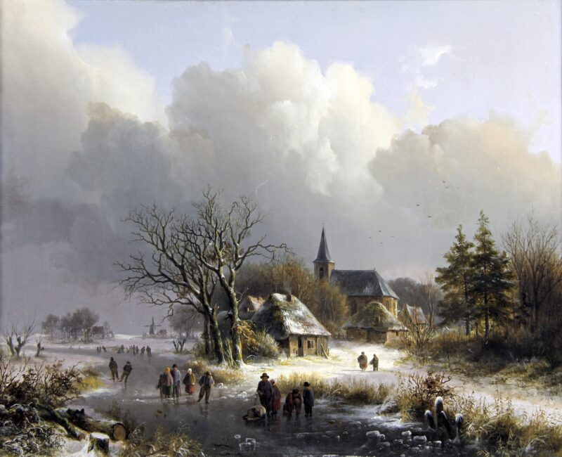 Klombeck JB A village along a frozen river with skaters