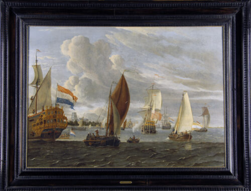 Storck, Abraham - Ships near Rotterdam with the Laurens Church in the Background (framed)